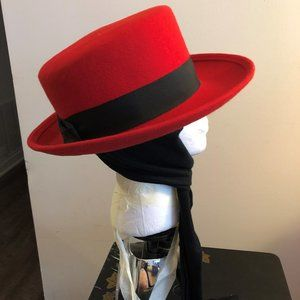 Red Hat with Optional Black Scarf Attached Unworn
